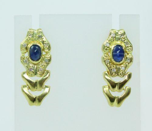 Brincos De Ouro 18k750 Diamante Safiras Azul B820