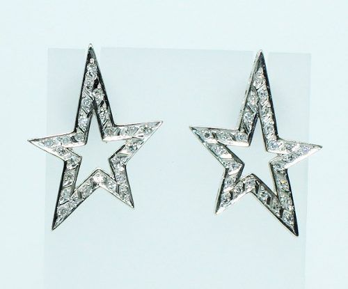 Brincos Ouro Branco 18k750 Estrela Diamantes B626