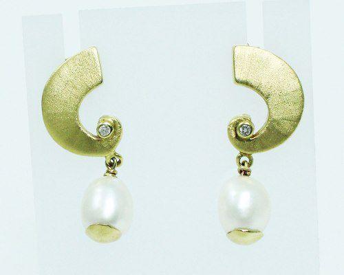 Brincos De Ouro 18k750 Diamantes Pérolas B621