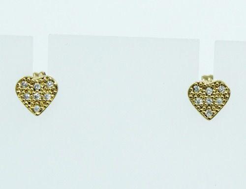 Brincos De Ouro 18k750 Coração Diamantes B361