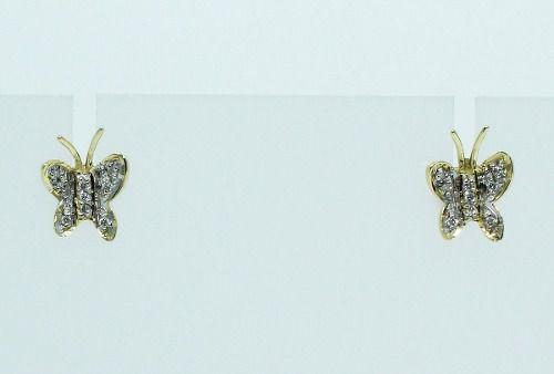 Brincos De Ouro 18k750 Borboleta Diamantes B608