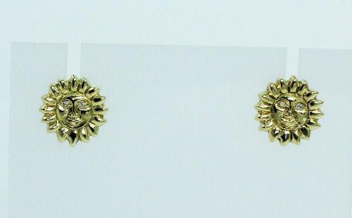 Brincos De Ouro 18k750 Sol Diamantes B599