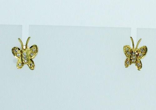 Brincos De Ouro 18k750 Borboleta Diamantes B590