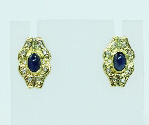 Brincos De Ouro 18k750 Safiras Azul B819