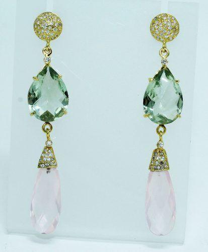 Brincos De Ouro 18k750 Diamantes Quartzos B5573