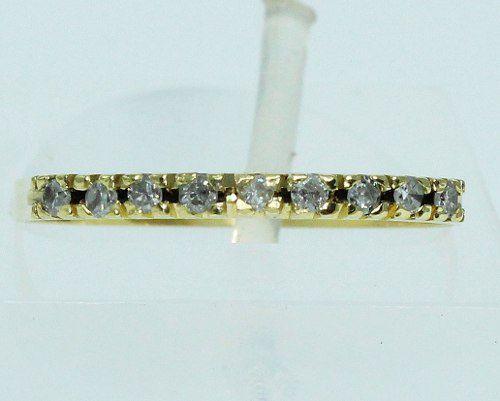 Meia Aliança De Ouro 18k750 Diamantes 1604