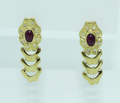 Brincos De Ouro 18k750 Diamantes Rubi B817