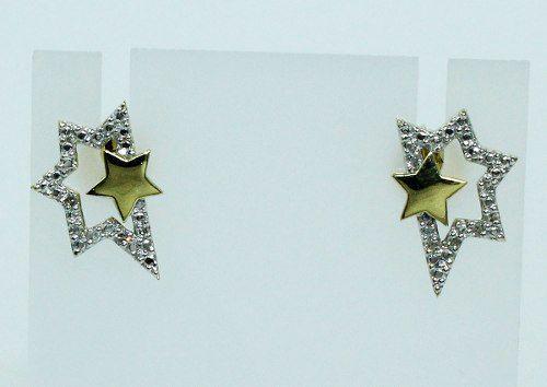 Brincos De Ouro 18k750 Estrelas Diamantes B506