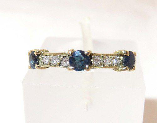 Anel De Ouro 18k750 Diamantes E Safiras 1098