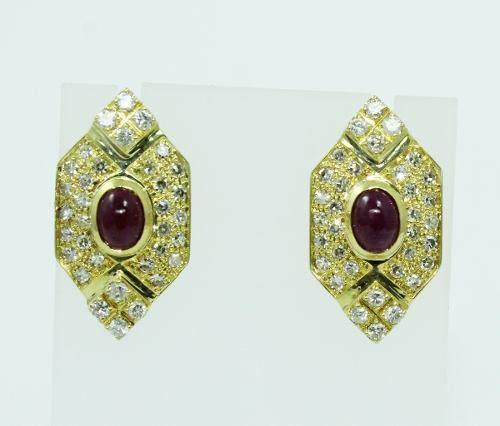 Brincos De Ouro 18k750 Diamantes Rubi B816
