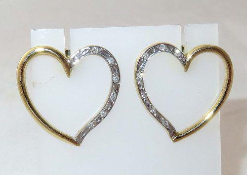 Brincos De Ouro 18k750 Coração Diamantes B1007