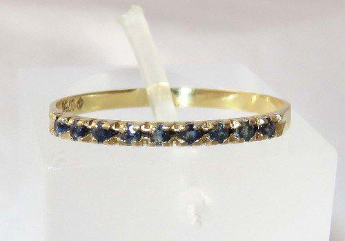 Meia Aliança De Ouro 18k750 Safira Azul 1289