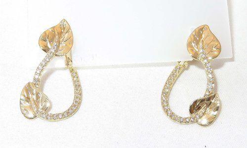 Brincos De Ouro 18k750 Folhas Diamantes B450