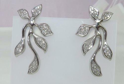 Brincos De Ouro Branco 18k750 Diamantes B416