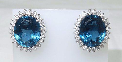 Brincos Ouro 18k Diamantes Topázios London B407