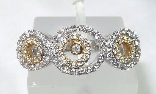 Anel De Ouro Branco 18k750 Diamantes 1059