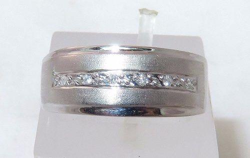 Anel De Ouro Branco 18k750 Diamantes 1019