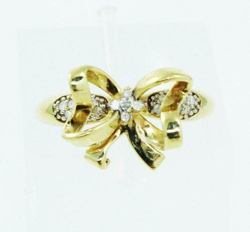 Anel De Ouro 18k750 Diamantes Laço 2462