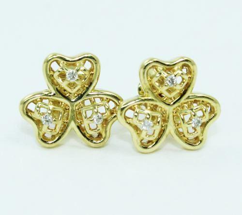 Brincos De Ouro 18k750 Trevo Diamantes B864