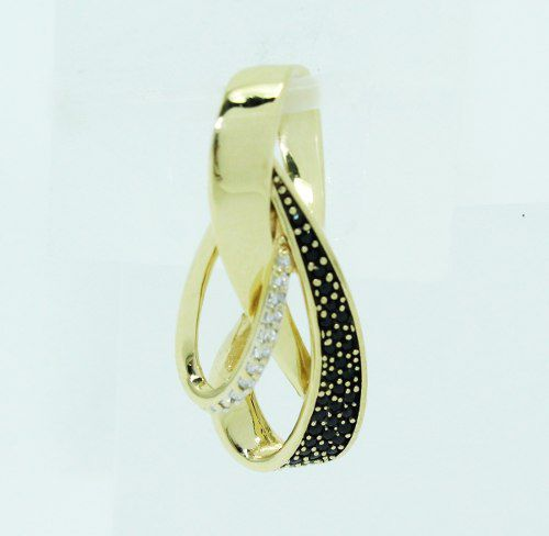 Pingente De Ouro 18k750 Ônix Diamantes P694