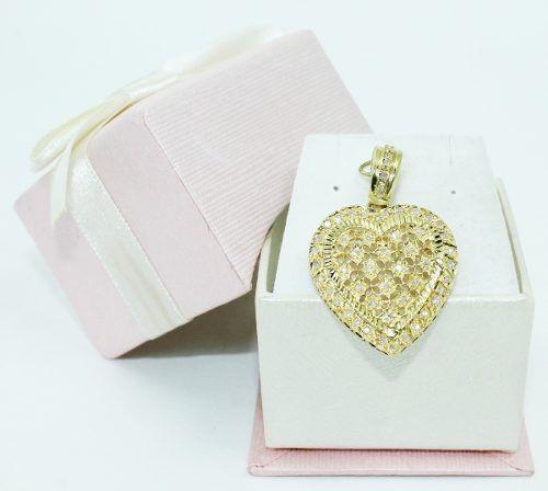 Pingente De Ouro 18k750 Coração Diamantes P692