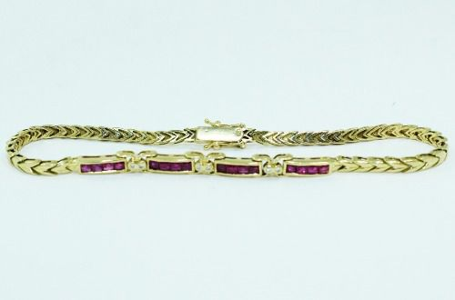 Pulseira De Ouro 18k750 Diamantes Rubis Pu82