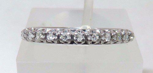 Meia Aliança De Ouro Branco 18k750 Diamantes 958