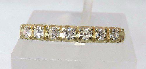 Meia Aliança De Ouro 18k750 Diamantes 955