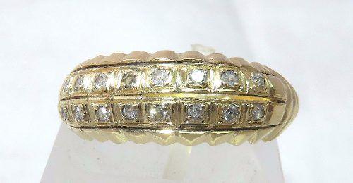 Anel De Ouro 18k750 Diamantes 919