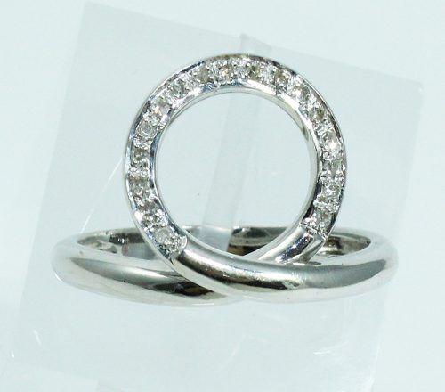 Anel De Ouro Branco 18k750 Diamantes 908