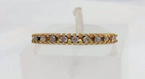 Meia Aliança De Ouro 18k750 Diamantes 818