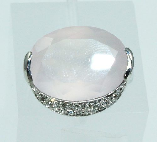 Anel Ouro Branco 18k Quartzo Diamante Vivara 722