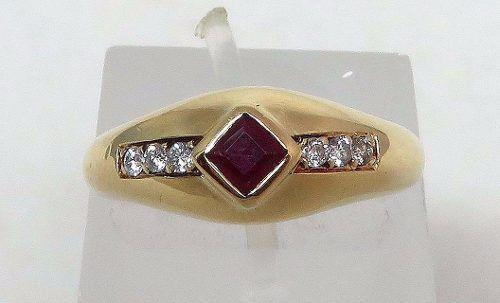 Anel De Ouro 18k750 Diamantes E Rubi 454