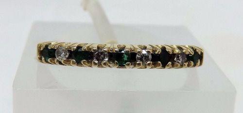 Meia Aliança Ouro 18k750 Diamantes Esmeraldas 2533