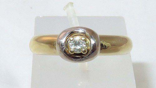 Anel De Ouro 18k750 Solitário Diamantes 509