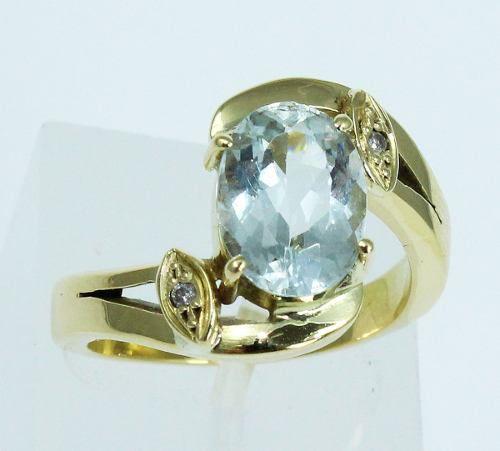 Anel De Ouro 18k750 Diamantes E Topázio 387