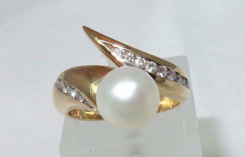 Anel De Ouro 14k Pérola E Diamantes 589