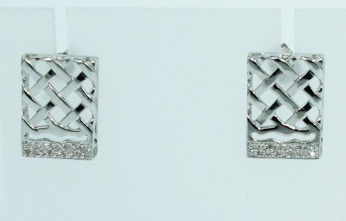 Brincos De Ouro 18k750 Pave Diamantes B196