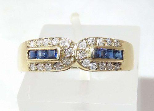 Anel Ouro 18k Diamantes E Safiras 190