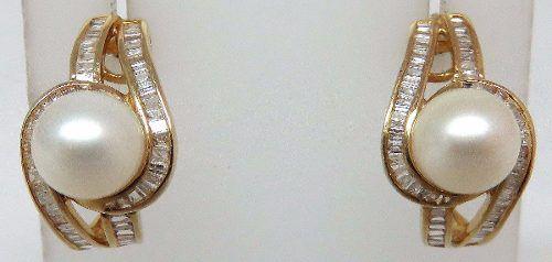 Brincos De Ouro 18k750 Diamantes Pérolas B341