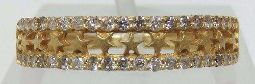 Anel De Ouro 18k750 Estrelas Diamantes 540