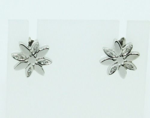 Brincos De Ouro Branco 18k750 Diamantes B812