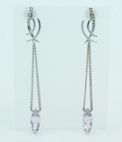 Brincos De Ouro Branco 18k750 Diamantes B351