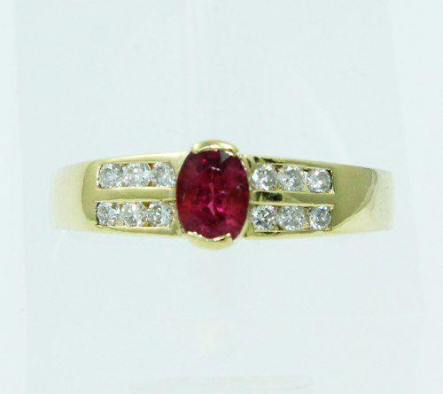 Anel De Ouro 18k750 Diamantes E Rubi 1085