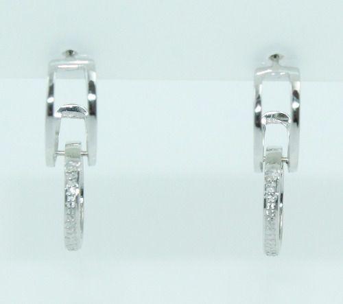 Brincos De Ouro Branco 18k750 Diamantes B810