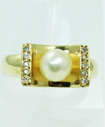 Anel De Ouro 18k750 Diamantes E Pérola 538
