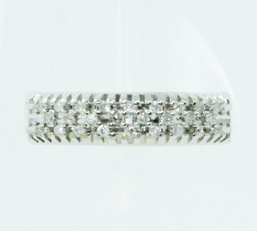 Anel De Ouro Branco 18k750 Diamantes 2472