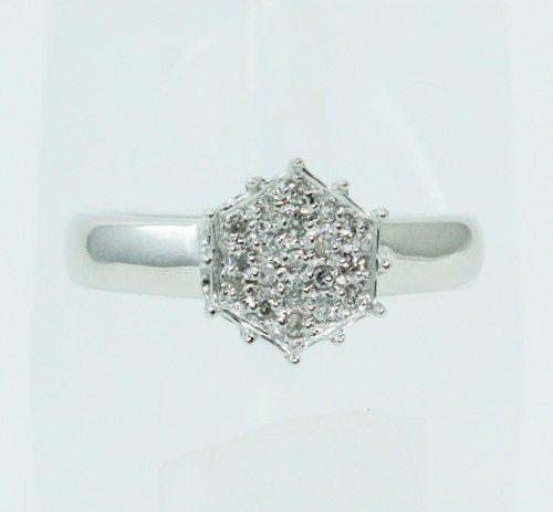 Anel De Ouro Branco 18k750 Diamantes 2474