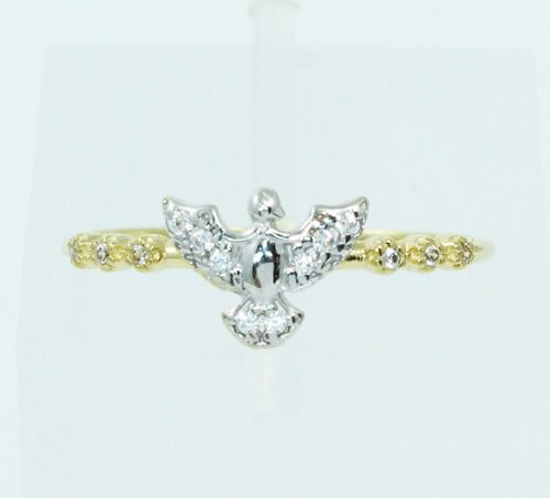 Anel De Ouro 18k750 Pássaro Diamantes 2475