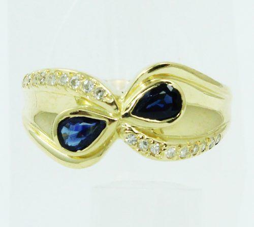 Anel De Ouro 18k750 Diamantes Safiras 2481